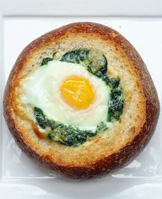 Creamed Spinach and Egg Bread Bowl