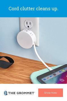 A retractable USB charger solves frayed, twisted, and tangled cable problems. The 31-inch, fast-charging flat cable extends just as long as you need it and retracts when you don't. Able to charge up to two devices, this charger is easy to take with your wherever you go—it has retractable prongs and even a clip to attach it to your bag. Cool Tech Gadgets, Gadgets And Gizmos, Wifi Options, Tv Cords, Cool Technology, Tool Organization, Apple Products, Phone Chargers, Usb