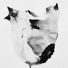 Illustrator:Laura McKellar. She creates beautiful things out ofall kind of materials. Have a look at these posts withgorgeous embroideries and ink paintings. #ink #cats