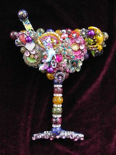 Vintage Jewelry Martini Glass Collage Sculpture Decorative Art Party Girl