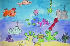 Under the Sea  Students created underwater seascapes with fish, sea animals, coral, and seaweed. They learned about how the size relationships of their fish can help to show distance. They tried to create a large variety of sea creatures in their paintings. They also explored the technique of using crayon and watercolor resist.