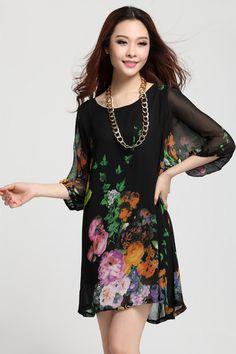 Casual Dress Summer Stylish Popular Casual Round Collar Loose Fitting Half Lantern Sleeve Peony Pattern Chiffon Dresses #Casualdress #womendress