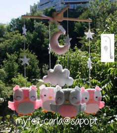 Owls Mobile, Baby Crib Mobile, Baby Mobile, Nursery Mobile Eule Cot Mobile, Musical, Pink Stars Mobile, Music Box Crib Mobile Bedding Kit BB