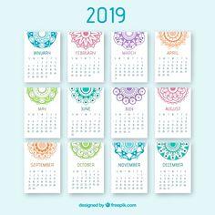 Nice 2019 calendar with a mandala design Free Vector Free Printable Calender, Printable Planner, Printables, Diy Calender, Small Calendar, 2019 Calendar, Mandala Design, Calendario Editable, Planner A5