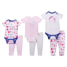 768ce34902a5 Little Star Organic Baby Girl Grow with Me Bodysuit & Pants Set, 6pc, Pink