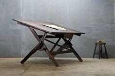 Timber draughtsman's desk.