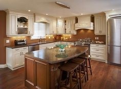 Small Kitchen Islands Brown Color with Seating Ideas