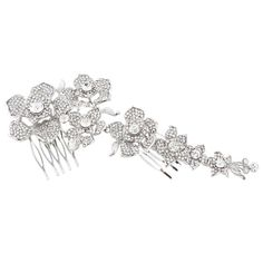 EVER FAITH® 7 Inch Bridal Silver-Tone Flower Hair Comb Clear Austrians Crystal -- Click image for more details. (This is an affiliate link and I receive a commission for the sales)