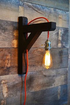 Industrial Edison Bulb Lamp Wall Lamp Red by RchristopherDesigns