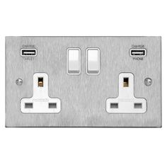 2 Gang Wall Socket Switch / USB Charger 2 gang 13 amp double socket outlet with USB Satin Stainless Steel