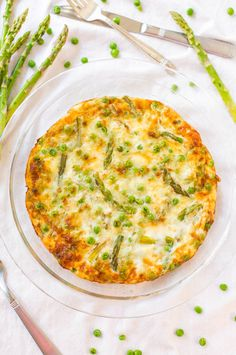 Asparagus, Peas, and Smoked Gouda Frittata - Even the pickiest eaters will eat green vegetables in this healthy & easy 25 minute recipe!