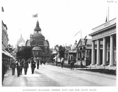 Government Buildings, Sweden, Haiti, and New South Wales at the World's Columbian Exposition (also known as the Chicago World's Fair), Daniel Burnham World's Columbian Exposition, White City, World's Fair, Chicago, Street View, Daniel Burnham, South Wales, Haiti, Outdoor