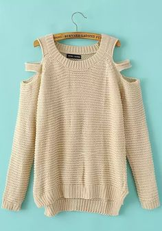 Beige Plain Hollow-out Long Sleeve Sweater