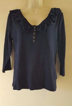 Chaps Denim Women's Size L Navy Blue Shirt Top Blouse Ruffled V Neck 3/4 Sleeve #Chaps #KnitTop #Career