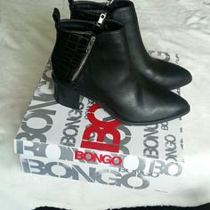 NWT black booties New with box black booties. Fuctional zippers on both sides of the booties. BONGO Shoes Ankle Boots & Booties