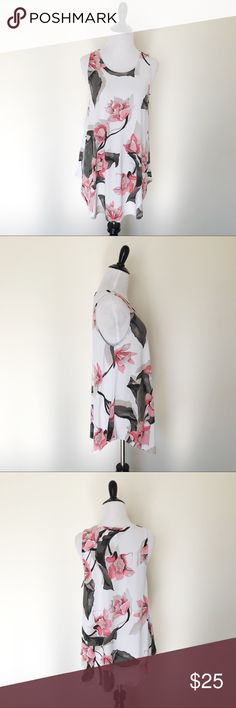 "Alfani Floral Stretch Tank Top, NWT, Medium Alfani brand new with tags white, black, and pink floral print tank. It is soft and has plenty of stretch.   Size Medium Length 28.5"" Bust 18.5""  Item Number: L3N5BA Alfani Tops Tank Tops"