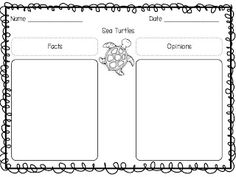 Free sea turtle writing activity...to go with book One Tiny Turtle