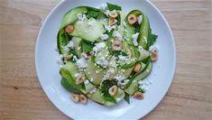 Zucchini ribbons with ricotta salata, hazelnuts and mint