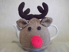 hand knitted 1-2 cup christmas rudolf the red nose reindeer tea cosy/cosie