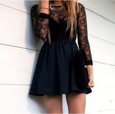 Dress: lace dress, little black dress, cute dress, prom dress . Semi Dresses, Hoco Dresses, Dance Dresses, Pretty Dresses, Beautiful Dresses, Prom Dress, Dress Long, Long Sleeve Homecoming Dresses, Pleated Dresses