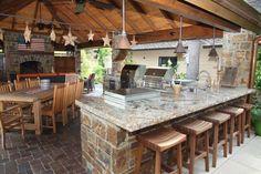 Backyard Outdoor Kitchen Mediterranean Backyard with an Outdoor Kitchen Mediterranean Style for Modern House