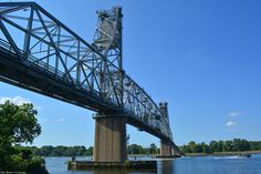Northeast side of the Burlington-Bristol-Bridge, photographed from the river walk in the City of Burlington, NJ. Maple Beach is across the Delaware.