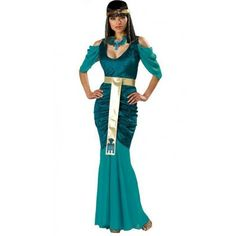 Hold your head high as the last pharaoh to ever rule Egypt in this Mermaid Style Egyptian Costume. Long sexy dress, matching head piece and gold lame belt will instantly turn you into the one and only Cleopatra.