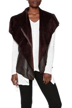 Brown faux leather with an open front, oversized shawl collar, and faux fur lining.   Vegan Leather Vest by HYFVE. Clothing - Jackets, Coats & Blazers - Vests Clothing - Jackets, Coats & Blazers - Faux Fur & Fur New York City Manhattan, New York City