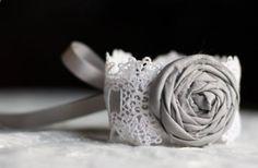 Vintage Lace Bracelet with Gray Rosette- Bridal Bracelet, Something Old, Bridesmaid Bracelet, Prom Wrist Corsage, Lace Cuff