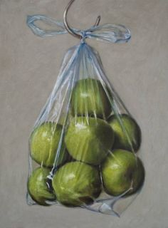 Granny Smith Apples in a Plastic Bag Painting