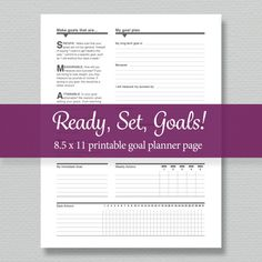 Goal Planning Printable Standard Letter Size by sassyplanners Goals Planner, Planner Pages, Printable Planner, Printables, Babysitter Printable, Daily Progress, Check Box, Goal Planning, Printed Pages