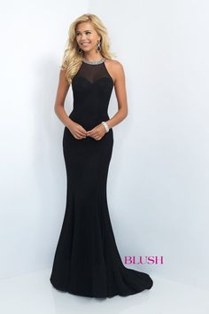 Blush Style #11119 - Ladylike in every way! This classy piece features a high neck collar and a sheer back draped with hand beaded ropes of crystals. The simple details add so much value to this red carpet gown. It's the perfect choice for an after 5 event or military ball.