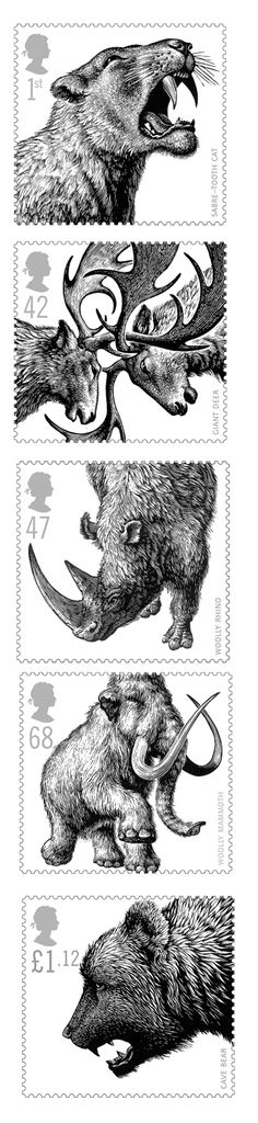 set of 5 stamps depicting ice age animals: giant deer, sabre tooth cat, wooly rhino, cave bear, woolly mammoth