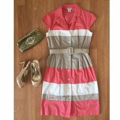 Liz Claiborne color block shirt dress sz 4. Cute! Liz Claiborne color block shirt dress. Size: 4. Chest (flat across, arm pit to arm pit): 18 inches. Waist: 15.5 inches. Length (shoulder to hem): 38 inches. Collar. Cap sleeves. Button down the front. Coral, to and white color block. Matching tan removable belt. **Note: this is a reposh. Didn't fit me :(  There are two tiny ink dots on the bottom area of this dress, which was not disclosed to me when I originally purchased this dress. I…
