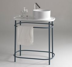 an integrated washbasin-shelf that can be either wall-hung or placed on a free-standing metal structure, upper is one of four designs by the studio for white ceramic. Diy Bathroom Decor, Bathroom Styling, Bathroom Fixtures, Bathroom Furniture, Bathroom Interior, Small Bathroom, Mesa Metal, Lavabo Design, Toilette Design