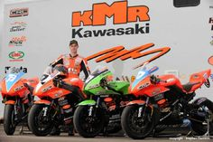 "Farquhar and his KMR Ninja ZX-10R, ZX-6R and KX450 engined ""125"" at the launch of his 2010 team. —  with Ryan Farquhar, Ninja ZX-10R and Ninja ZX-6R... the kx450 was an attempt to start a 4stroke alternative to the 'dying' 125cc 2stroke class and established 1000s and 600s. This failed but introduction of the minitwin class hs achieved that aim as of 2012. Farquar has been the dominant rider and bike builder in this class. He won the inaugeral race and his bikes came 2nd, 3rd and 5th too!"