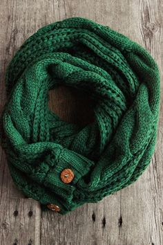 The Perfect Scarf™ in Pine Tree  Holiday Green Cable Knit scarf with two round buttons (buttons may vary). A perfect scarf for the perfect season.  www.shopnorthernly.com
