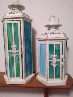 Stained glass lantern desk lamps I made. #lantern #lamps #stainedglass