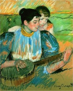 Mary Cassatt - The Banjo Lesson, 1894 fine art preproduction . Explore our collection of Mary Cassatt fine art prints, giclees, posters and hand crafted canvas products Edgar Degas, Camille Pissarro, Pittsburgh, Canvas Art Prints, Painting Prints, Fine Art Prints, Renoir, Mary Cassatt Art, Women Artist