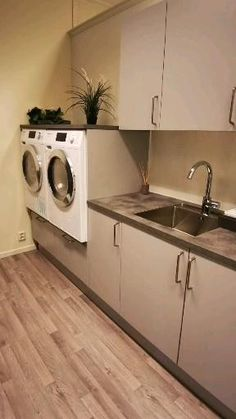 Laundry In Kitchen, Modern Laundry Rooms, Laundry Room Layouts, Laundry Room Storage, Laundry Room Design, Laundry In Bathroom, Ikea Laundry Room, Kitchen Cabinet Design, Modern Kitchen Design