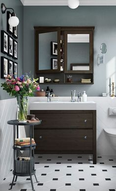 HEMNES Bathroom Series - IKEA - - HEMNES Bathroom Series – IKEA Bathrooms A traditional approach to a tidy bathroom! The IKEA HEMNES bathroom series has a traditional choice of colors and lots of smart storage ideas. Bad Inspiration, Bathroom Inspiration, Upstairs Bathrooms, Tiled Bathrooms, Bathroom Vanities, Painted Bathrooms, Narrow Bathroom, Vanity Sink, Small Bathrooms