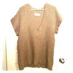Me and You Tops - Brown Short Sleeved Knit Sweater