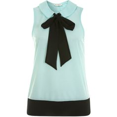 Mint Sleeveless Pussybow Top ($21) ❤ liked on Polyvore featuring tops, shirts, blouses, short sleeve top, sleeveless shirts, green top, polyester shirt, green shirt and green sleeveless top