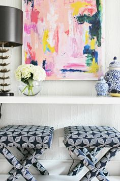 Colorful living room makeover with sources- full of inspiring ideas and DIY projects! via Burlap and Lace