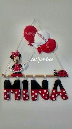 Felt Minnie the Mouse, name banner https://www.facebook.com/sanjarilica