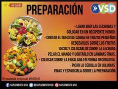 Aprende a preparar esta ensalada tropical para acompañar tu parrilla, en #algrill puedes ver la receta ¡anímate!