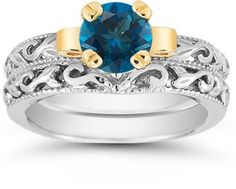 London Blue Topaz 1 Carat Bridal Set in Sterling Silver Jewelry Trends 2018, Latest Jewellery Trends, Black Diamond Jewelry, Diamond Gemstone, Diamond Rings, Gemstone Rings, Topaz Jewelry, Gold Jewelry, London Blue Topaz