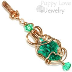 Emerald Green Druzy Dioptase Crystal Wire Wrapped Pendant in Bronze, Handmade #PuppyLoveJewelry #crystalhealing #heartchakra #energyhealing #reiki #wirewrappendant #Gift
