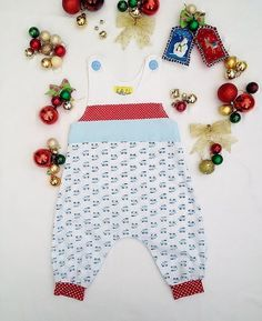 Baby Boys Harem Style Romper Suit Blue Trains by BubbalubzBabyWear, £24.99