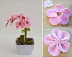 Rainbow's Crafts and Creations: How to Make Simple Felt Flowers Fake Flowers, Diy Flowers, Fabric Flowers, Felt Crafts, Diy And Crafts, Felt Doll Patterns, Felt Flower Tutorial, Felt Flower Bouquet, Flower Pens
